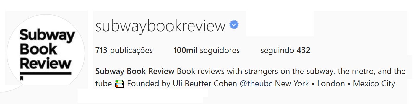 A imagem mostra o Head do instagran Subway Book Review, o numero de inscritos, seguidores e a bio.