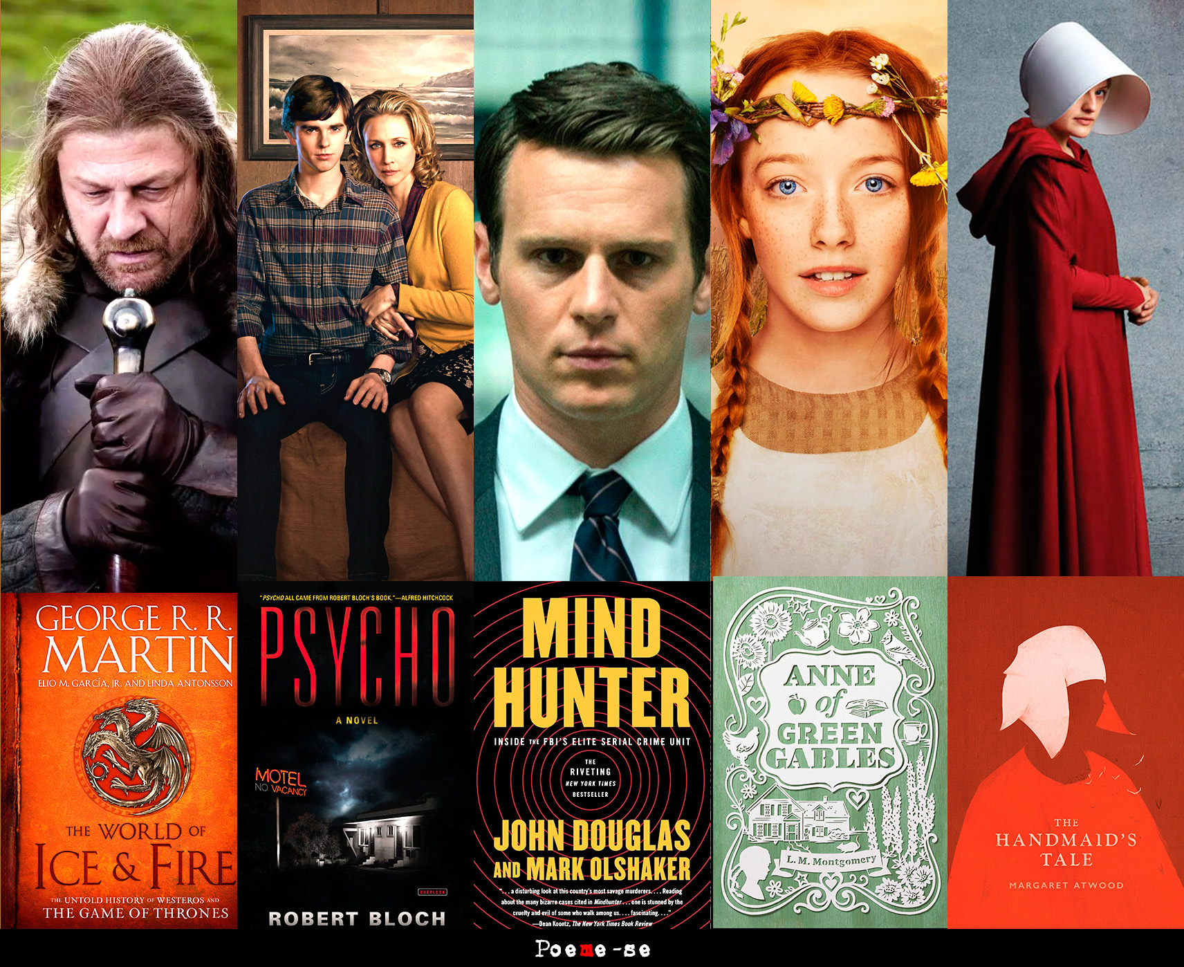 banner 5 séries baseadas em livro, game of thrones, anne, mindhunter, bates motel e handmaid's tale