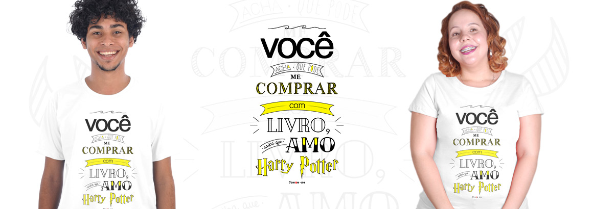 modelo com camiseta amo harry potter